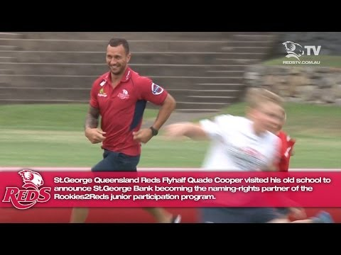 Quade Cooper talks at the first 2014 St.George Rookies2Reds clinic
