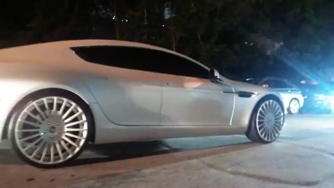 Yo Gotti S White Aston Martin Rapide On Forgiato 22s At Compound Atlanta Youtube