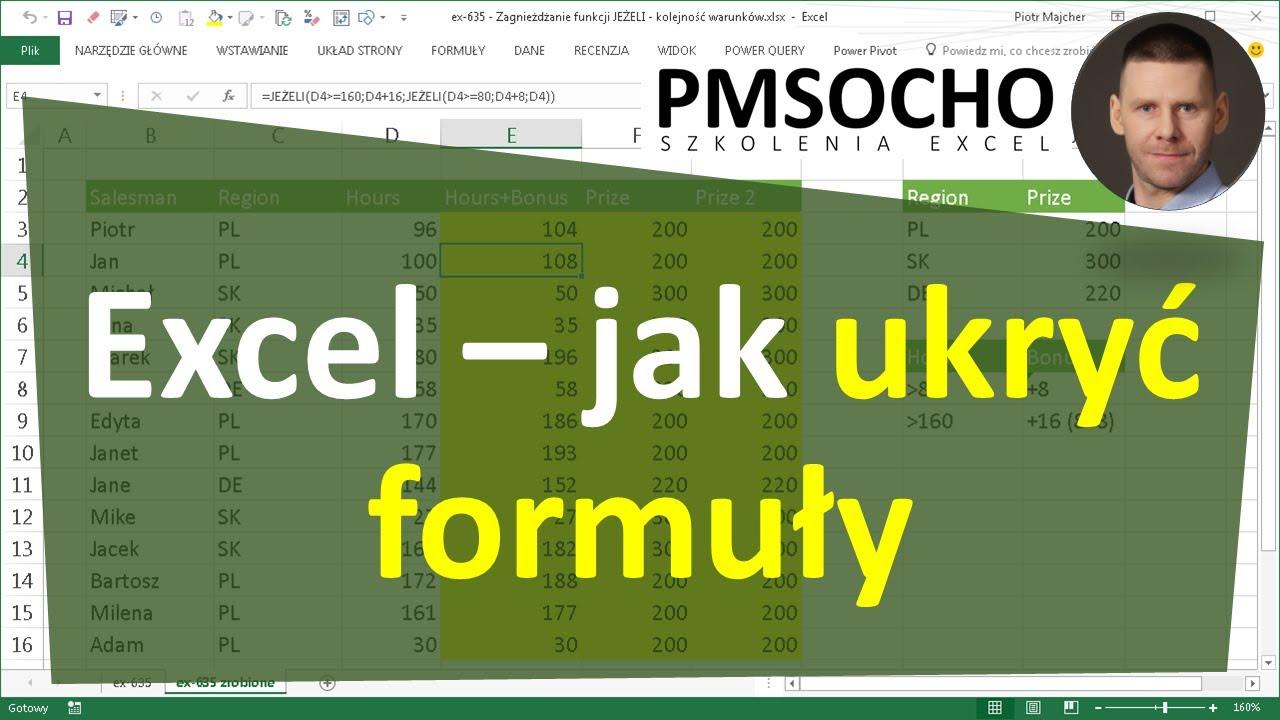 Excel 490 Jak Ukryć Formuły Ukrywanie Formuł