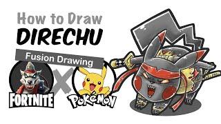 [Fortnite] Dire + Pikachu | Fortnite Pokemon Mashup Drawing | How to draw Dire
