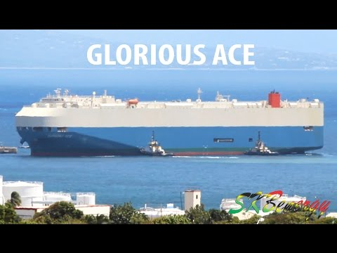 The GLORIOUS ACE - Vehicle Carrier (58939 GT) berthing in St. Kitts with two Tugs assisting !!!
