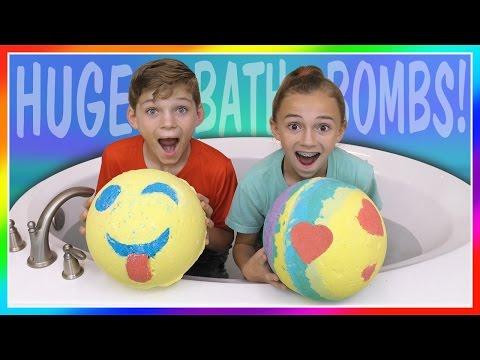 HUGE EMOJI VS RAINBOW BATH BOMB CHALLENGE!   We Are The Davises