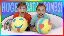 HUGE EMOJI VS RAINBOW BATH BOMB CHALLENGE! | We Are The Davises