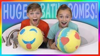HUGE EMOJI VS RAINBOW BATH BOMB CHALLENGE! | We Are The Davises