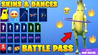 FORTNITE SEASON 8 BATTLE PASS SKINS & DANCES SHOWCASE!