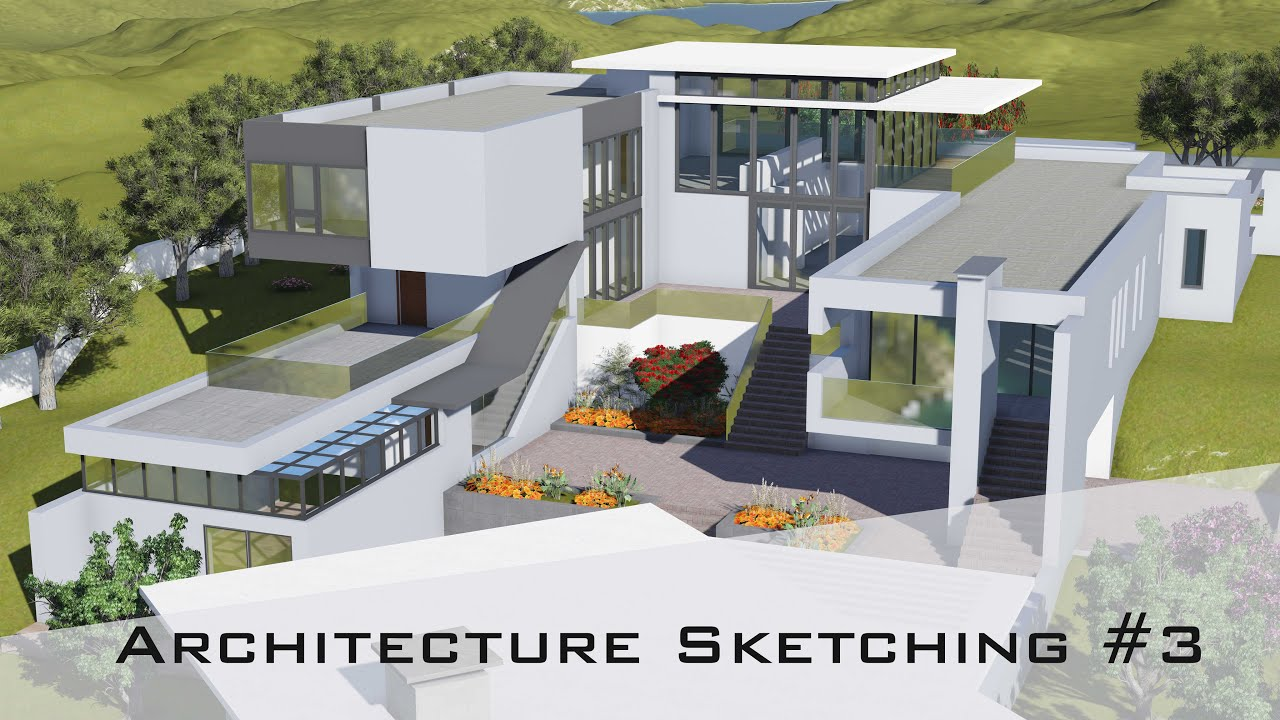 Architecture Sketching #3: How To Design A House, From Rough Sketch To 3D  Model   YouTube