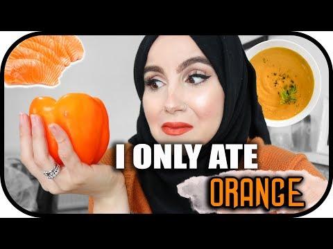 I only ATE orange food for 24 HOURS challenge!!   Amina Chebbi