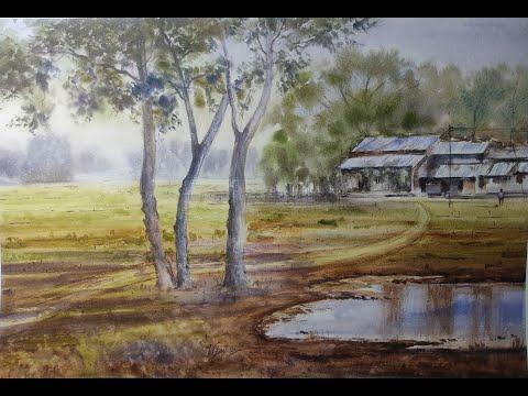 Watercolor Landscape Painting (प्राकृतिक दृश्य) full Demo by artist Vijay Kumar .