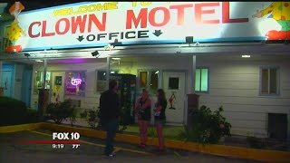 Inside Tonopah's famous Clown Motel