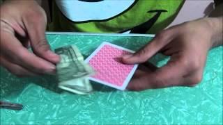 truco de magia revelado: Billete atravesado por una carta