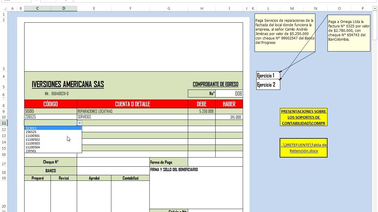 COMPROBANTE DE EGRESO Ejercicios Completos En Excel Archivo De Trabajo GRATIS