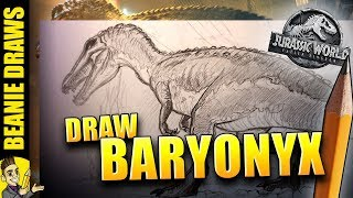How to Draw Baryonyx from Jurassic World Fallen Kingdom Trailer - Tutorial