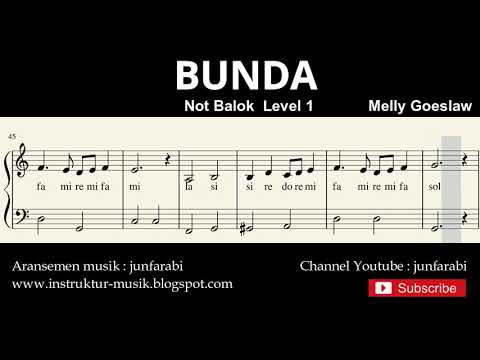 Bunda - Melly Goeslaw - Notasi Balok Piano Level 1 Pemula - Do Re Mi / Sol Mi Sa Si