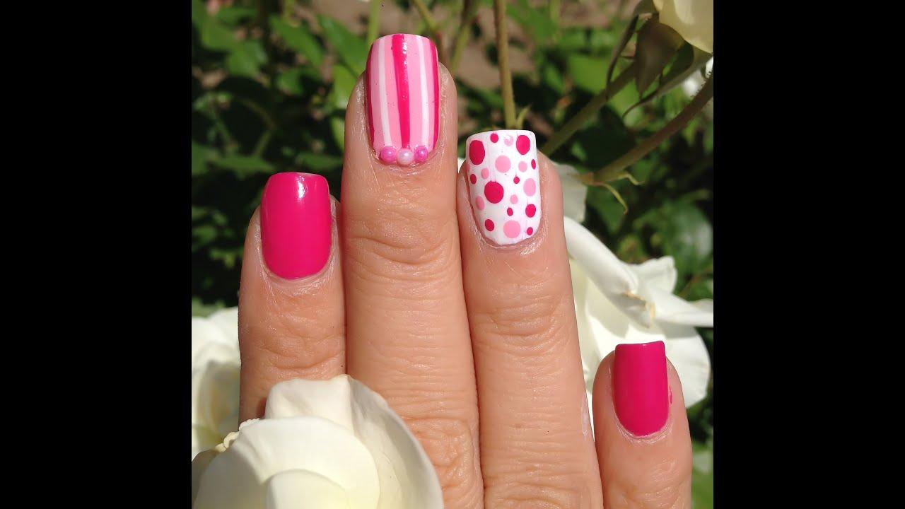 Facil uñas rosa con blanco - YouTube