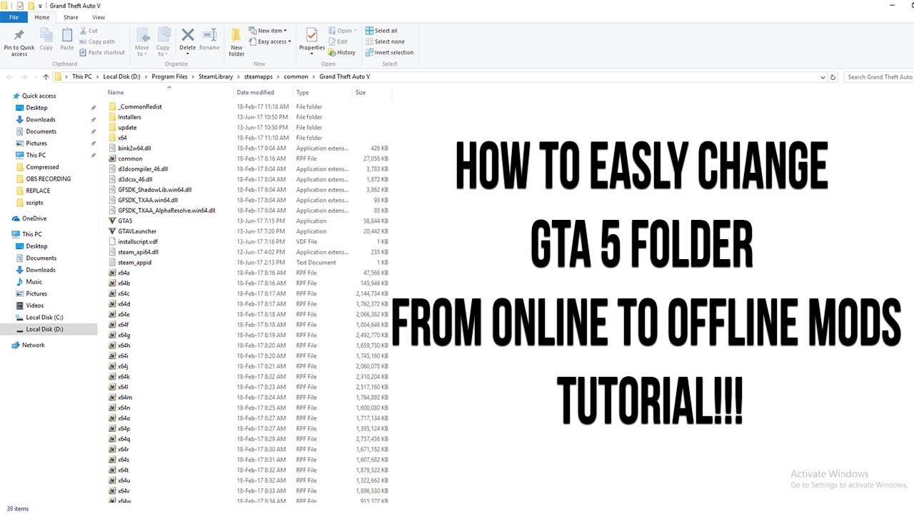 How To Easly change GTA 5 Folder From Online To Offline Mods Play  Tutorial!!!