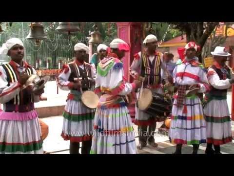 Kumaoni band playing traditional music during Nanda Devi Mahotsav