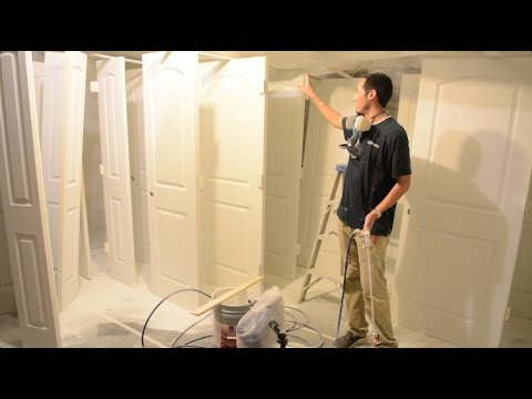 My setup for spraying interior doors youtube for How to spray paint doors