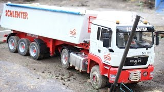 Pulling RC Truck MAN TGS with 3 axle semi dump trailer from gravel pits by ZETOR 16145 TURBO