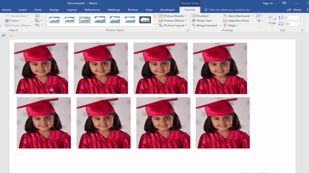 How To Make Passport Size Photo Microsoft Word 2017 Youtube
