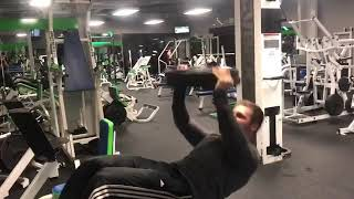 Decline Situp Overhead Presses With Two 45 Pound Plates - Advanced Abs