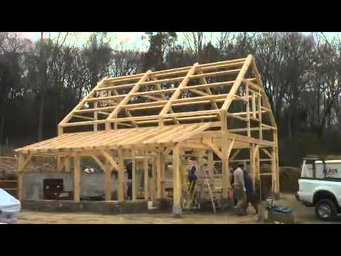 Five month time lapse: Post and beam barn in Lyme