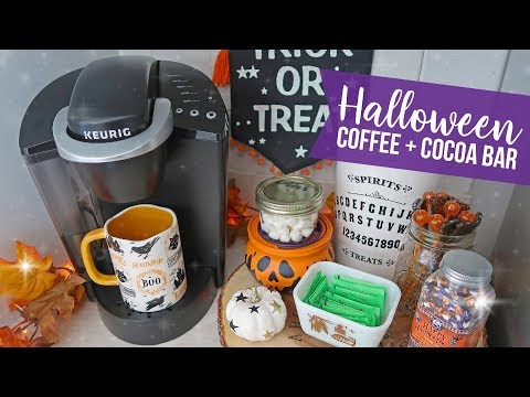 Halloween Coffee + Cocoa Station / Bar 🍁 Fall Decorate With Me 🍁 Fall Kitchen Decor Inspiration