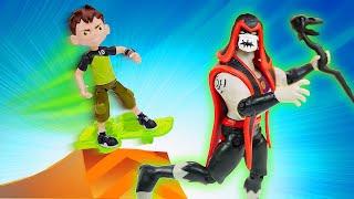 Игрушки Бен Тен: Бен 10 раздвоился и сражается против Хекса! Видео для детей