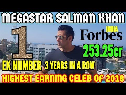 MEGASTAR SALMAN KHAN BECOMES NUMBER 1 HIGHEST EARNING CELEB OF 2018 IN FORBES INDIA CELEB 100