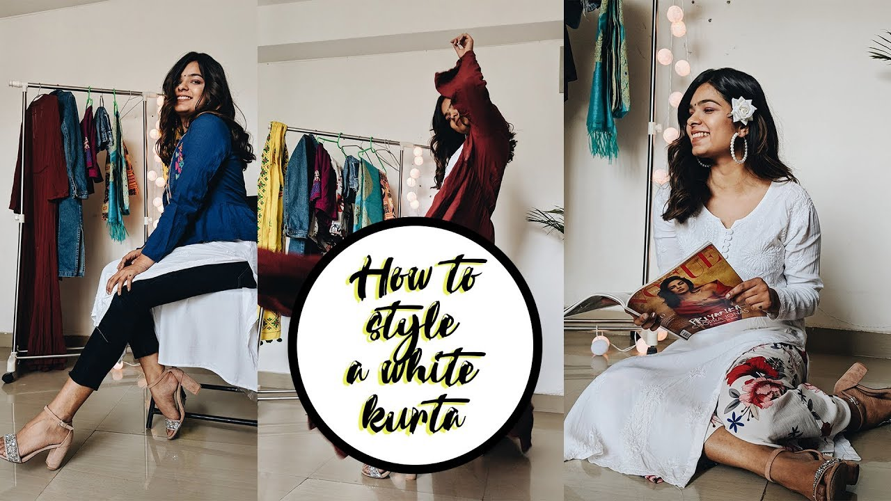 HOW TO STYLE A WHITE KURTA | EVERYDAY INDIAN OUTFITS FOR COLLEGE #stylingsessionswithmahi