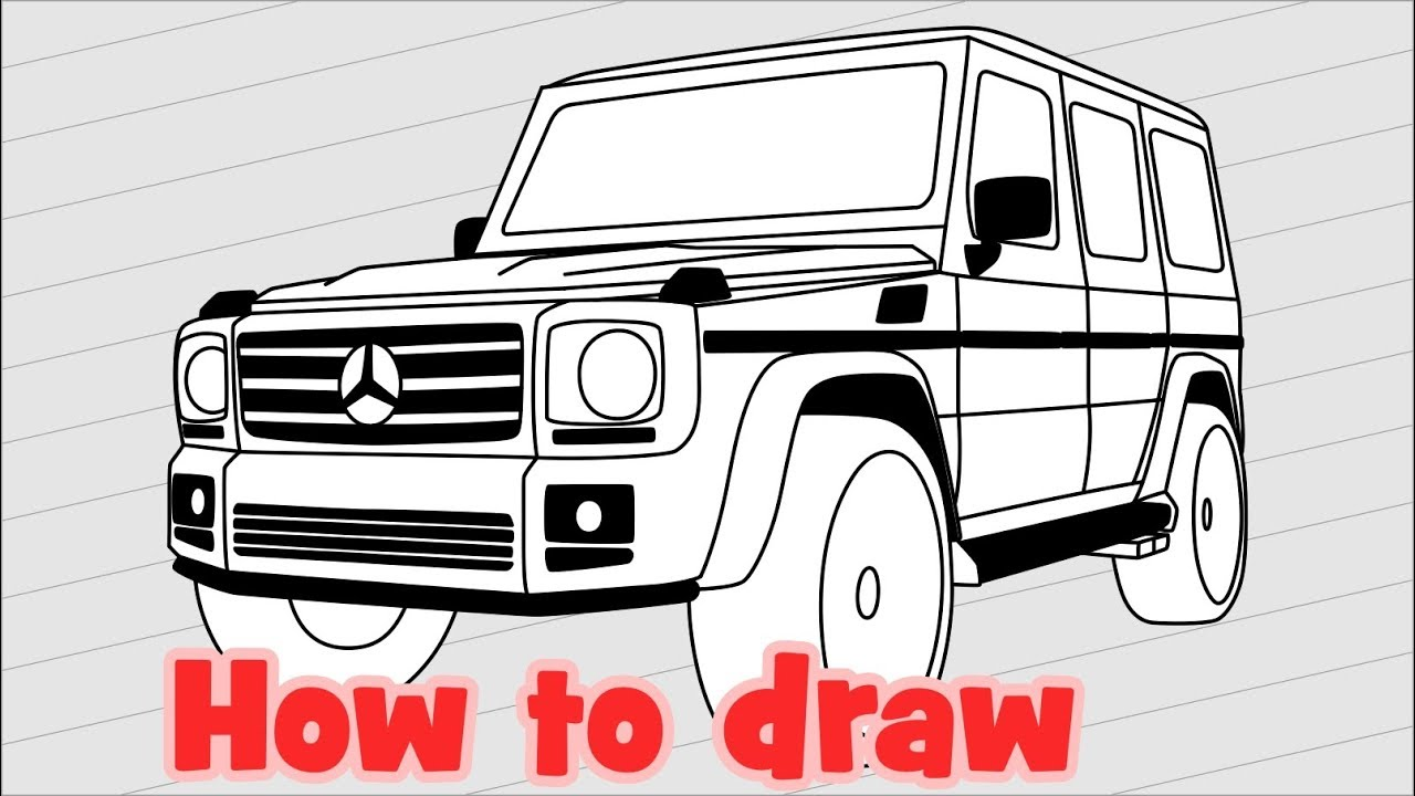 How to draw a car Mercedes Benz G500 - YouTube