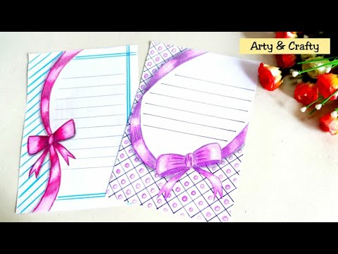 Ribbon Draw | Easy Border Design on Paper | Border Design for Project & Front Page by Arty & Crafty