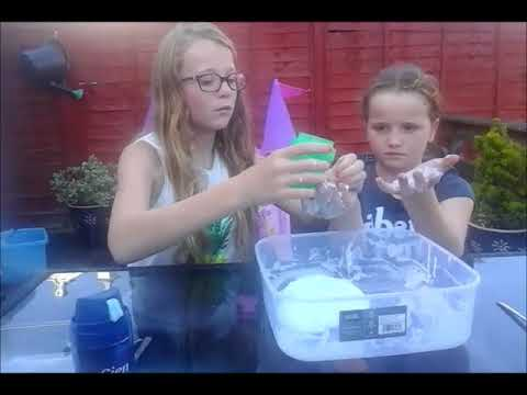 two sisters making slime the easy way (uk)