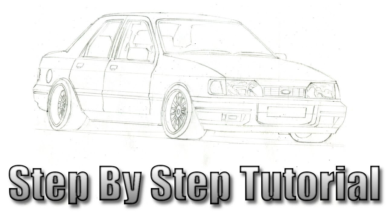 How To Draw A Car Ford Sierra Part 1