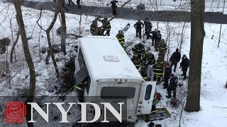 Bus Drives Off Henry Hudson Parkway, Crashes Into Wooded Area