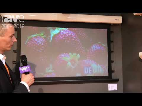 ISE 2018: De Luxx Demos Cinema Electric Tension ALR Screen with a Short Throw Projector