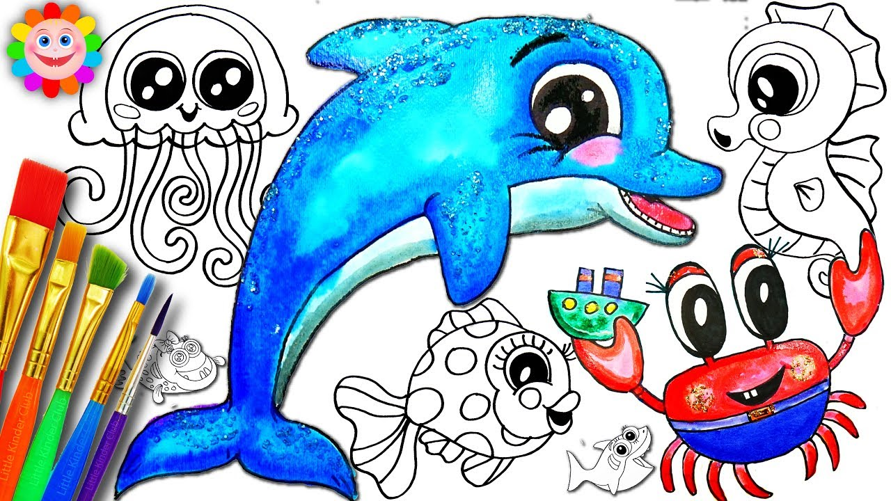 sea animals coloring page learn colors for children glitter