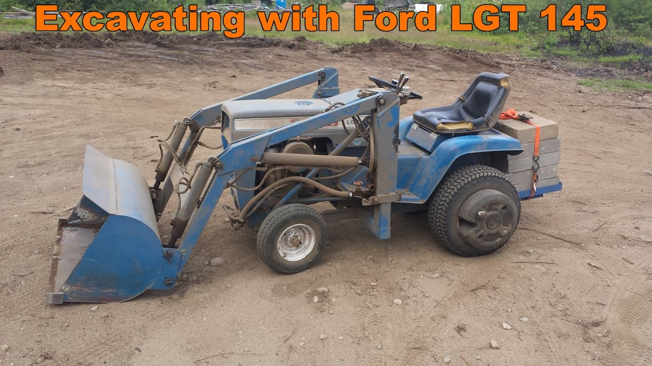 Excavating With Ford Lgt 145 Garden Tractor With Front End