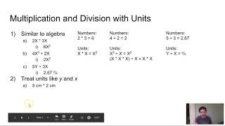 Algebra with Units (Science Maths)