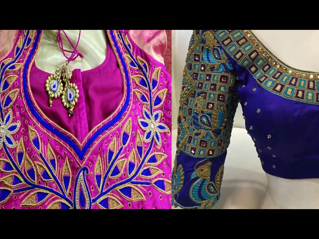 Beautiful Thread Work Blouse Designs For Plain Sarees   Blouse Thread Work   Latest Blouse Patterns
