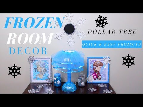 DOLLAR TREE DIY | DIY FROZEN GIRL'S ROOM DECORATIONS | DIY FROZEN THEME LAMP