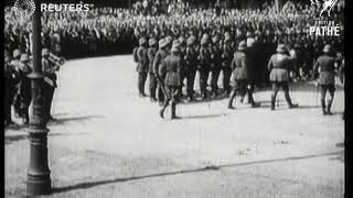 GERMANY: DEFENCE  German Soldiers march  past President  Hindenburg (1928)