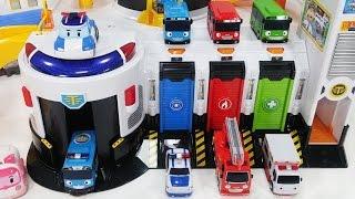 타요 긴급 출동센터와 폴리 뽀로로 장난감 놀이 - 토이몽 Tayo the little Bus Rescue Center toys