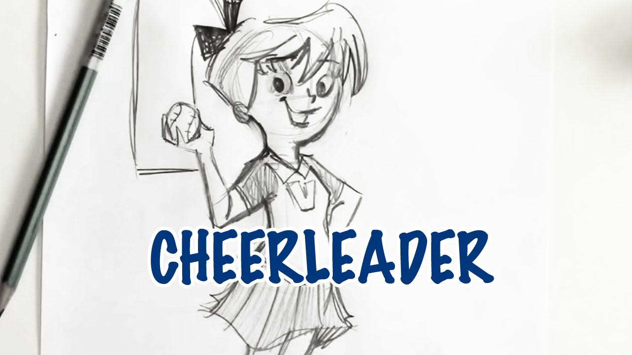 How To Draw A Cheerleader (step By Step)