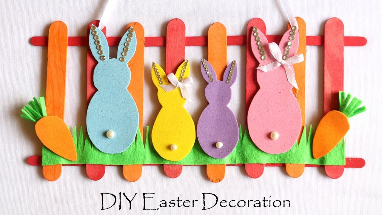 Diy Easter Decorations Easy Spring Room Decor Ideas Door Wall Hanging Easter Bunny Youtube