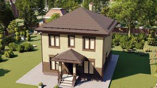 Проект дома из газобетона 2 этажа с террасой