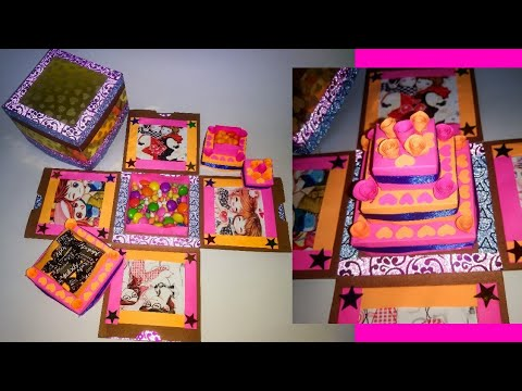 Explosion box tutorial | DIY |paper cake explosion box | photo frame type | birthday card
