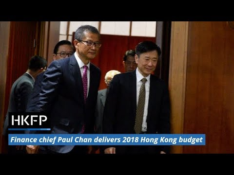 Hong Kong finance chief Paul Chan delivers the 2018 budget
