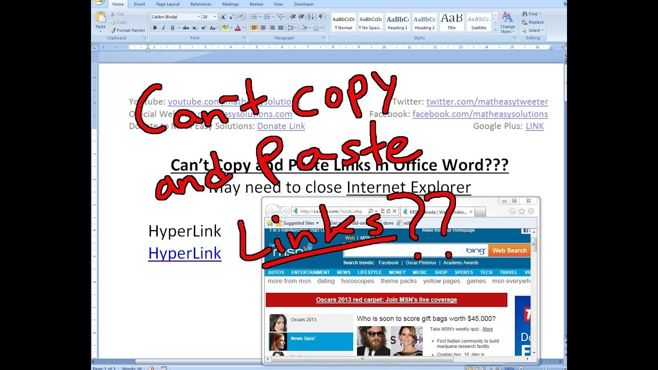 Can't copy and paste hyperlinks to Office Word?? Try Closing Internet  Explorer