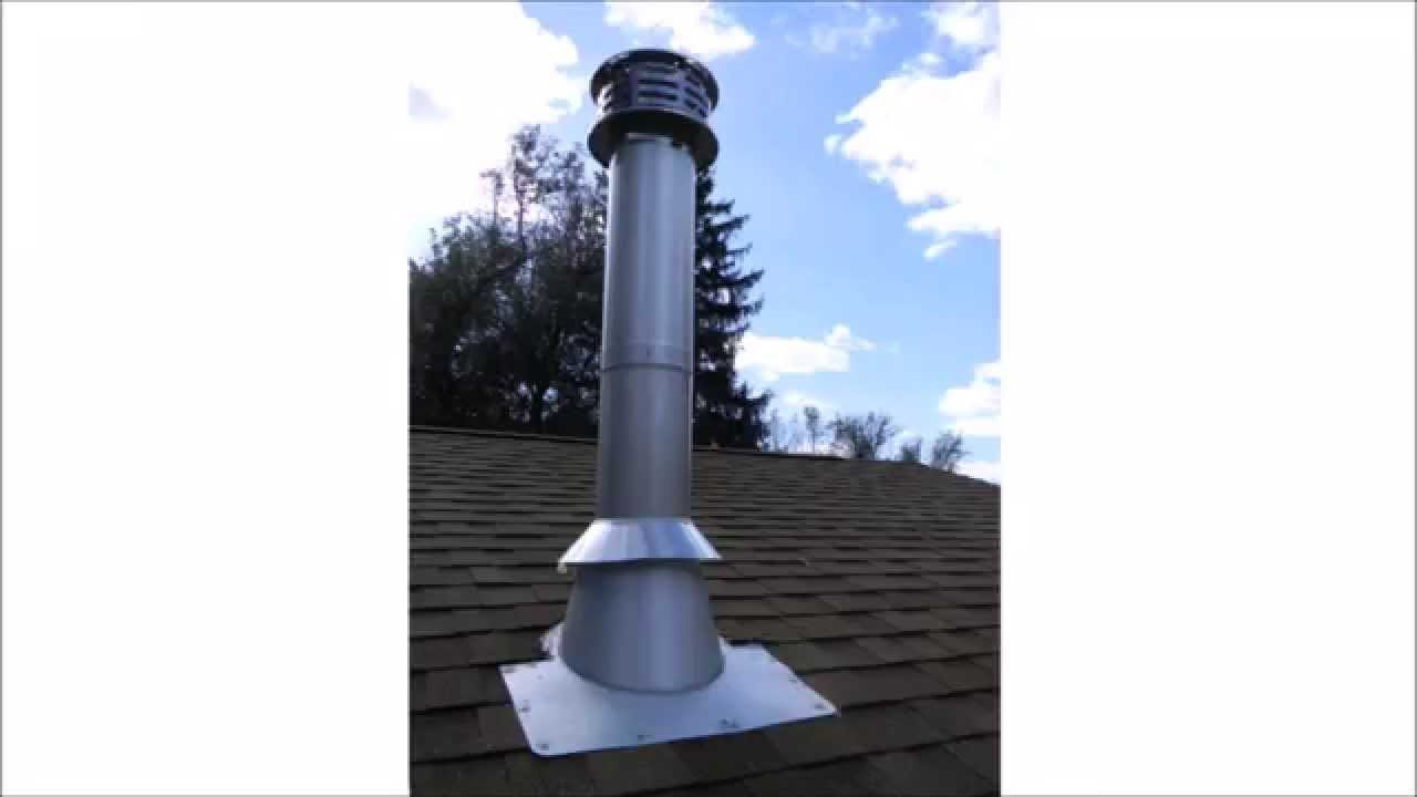 Chimney Pipe Installation for Wood Stove through a Flat Ceiling - YouTube - Chimney Pipe Installation For Wood Stove Through A Flat Ceiling