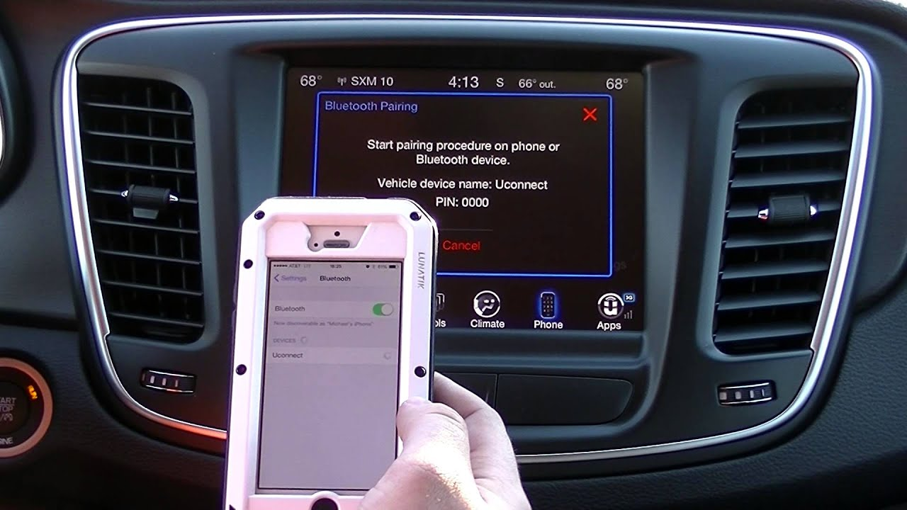 Connecting device by Bluetooth to Uconnect in a Chrysler 200